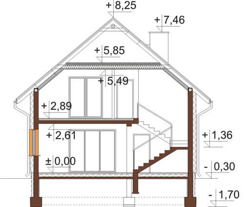 Projekt domu DM-6545 - przekrój