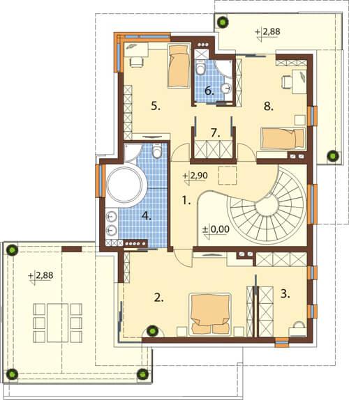 Projekt domu DM-6543 - rzut