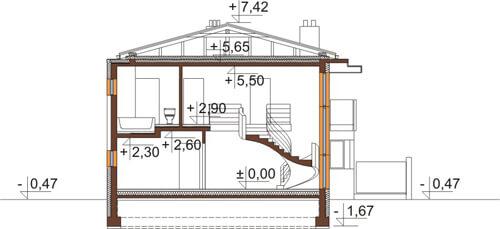 Projekt domu DM-6543 - przekrój