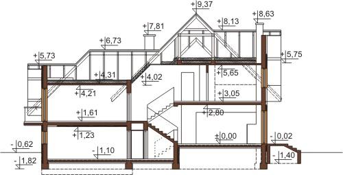 Projekt domu L-6571 - przekrój