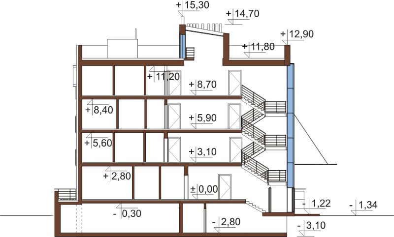 Projekt domu DM-6549 - przekrój