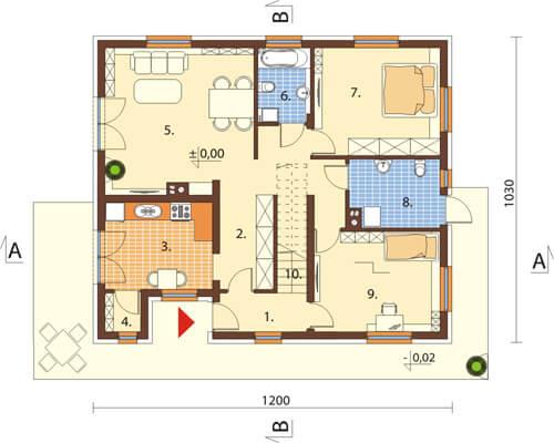 Projekt domu DM-6544 - rzut