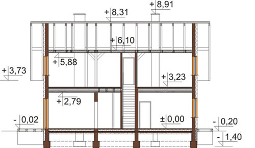 Projekt domu DM-6544 - przekrój