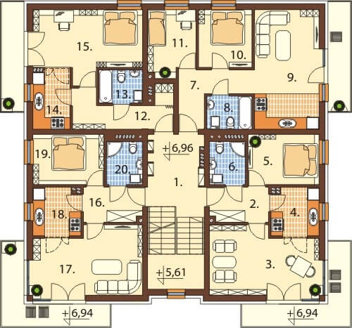 Projekt domu DM-6496 B - rzut