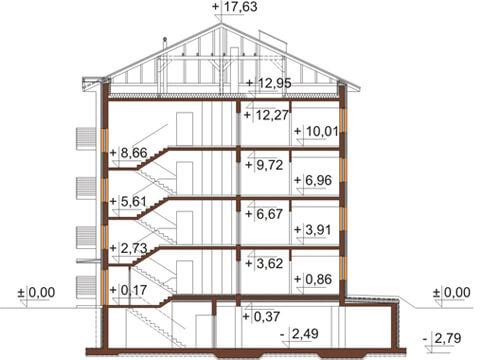 Projekt domu DM-6496 B - przekrój
