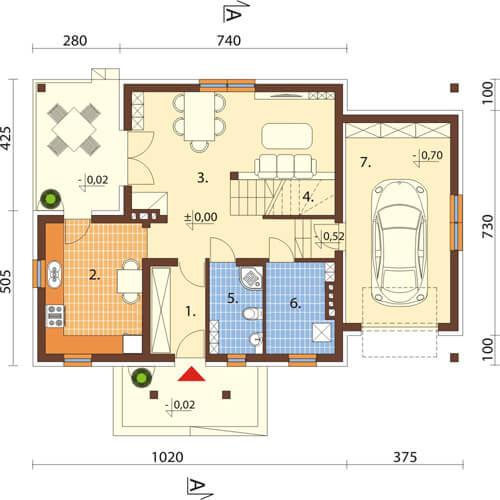 Projekt domu DM-6574 - rzut