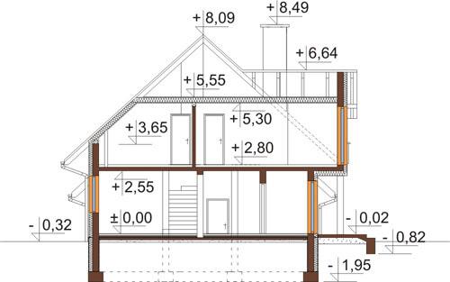 Projekt domu DM-6574 - przekrój