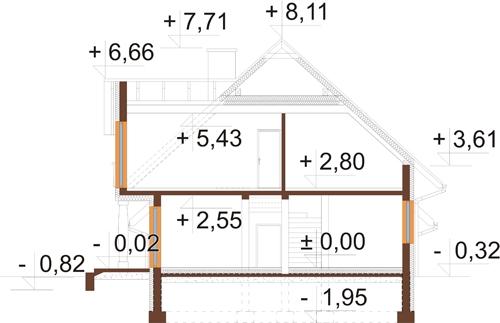 Projekt domu L-6574 - przekrój