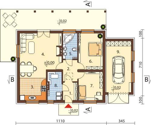 Projekt domu L-6546 - rzut