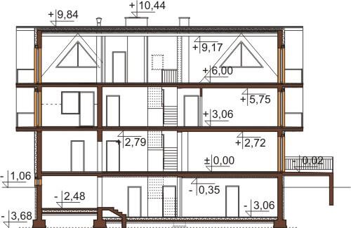 Projekt domu L-6551 - przekrój