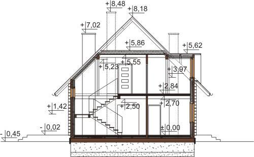 Projekt domu L-6542 - przekrój