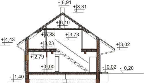 Projekt domu L-6544 - przekrój