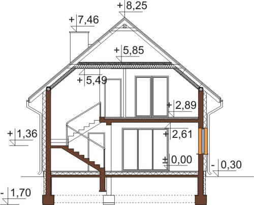 Projekt domu L-6545 - przekrój