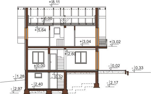 Projekt domu L-6559 - przekrój