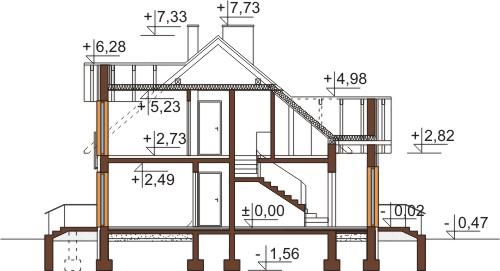 Projekt domu L-6573 - przekrój