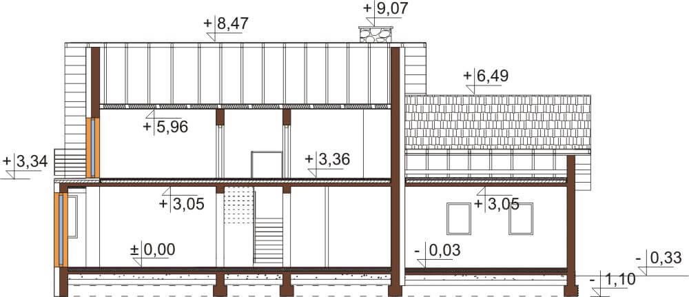 Projekt domu DM-6577 - przekrój