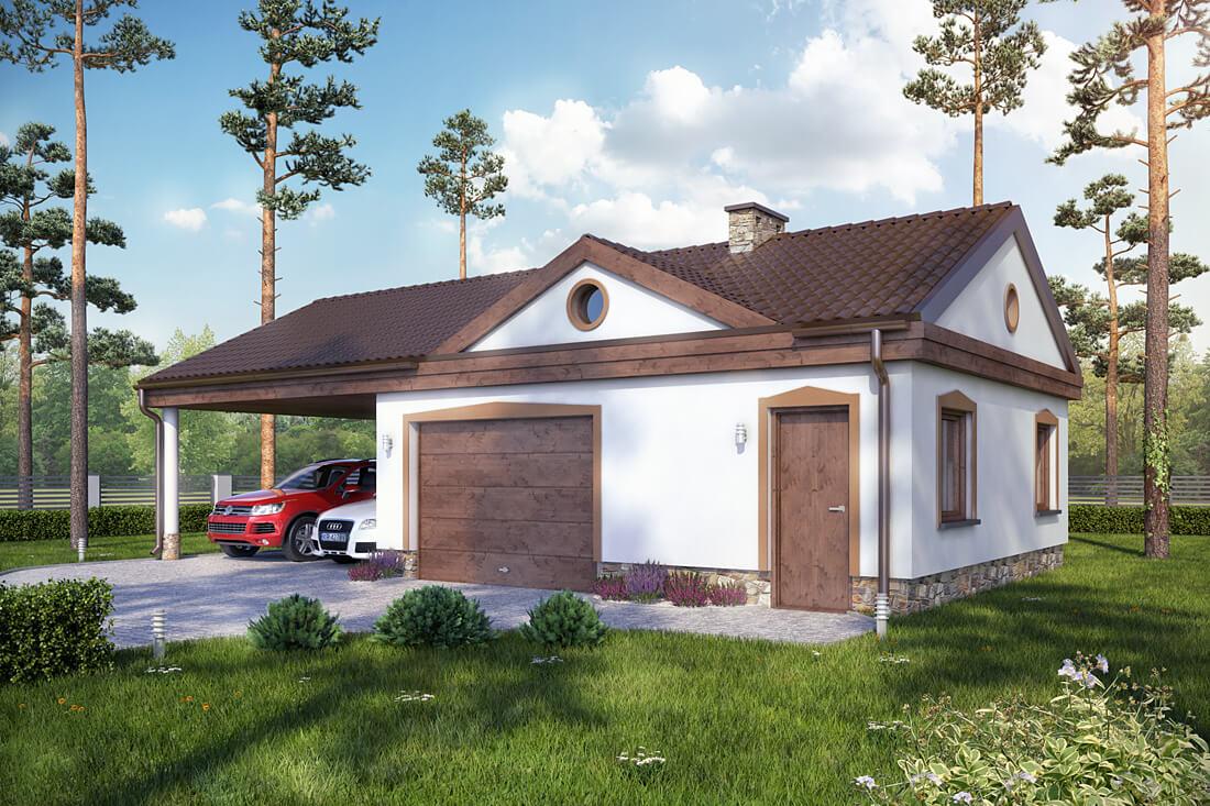 Projekty garaży z poddaszem i dachem czterospadowym