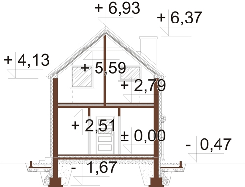 Projekt domu DM-6555 - przekrój