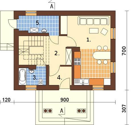 Projekt domu DM-6268 - rzut
