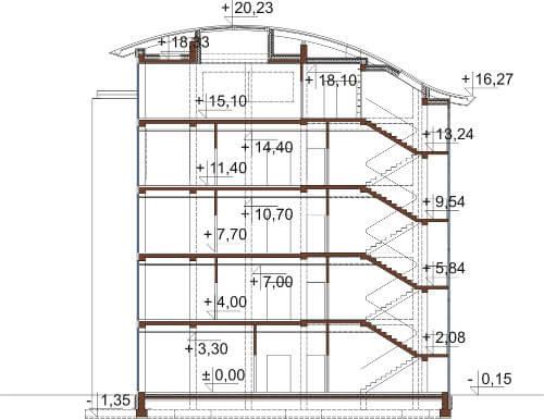 Projekt LK-75 - przekrój