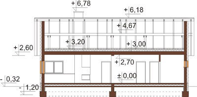 Projekt domu L-6558 - przekrój