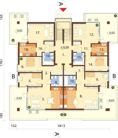 Projekt domu L-6549 - rzut