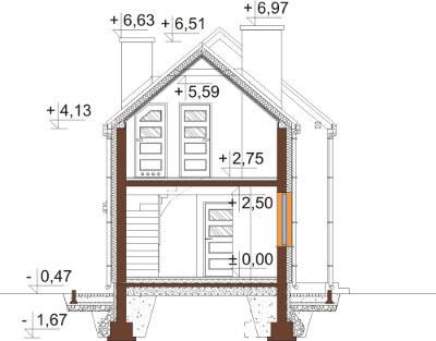 Projekt domu L-6555 - przekrój