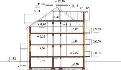 Projekt domu L-6487 B - przekrój
