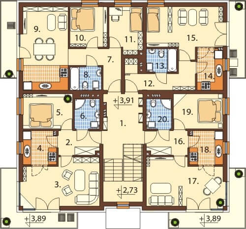 Projekt domu L-6496 B - rzut