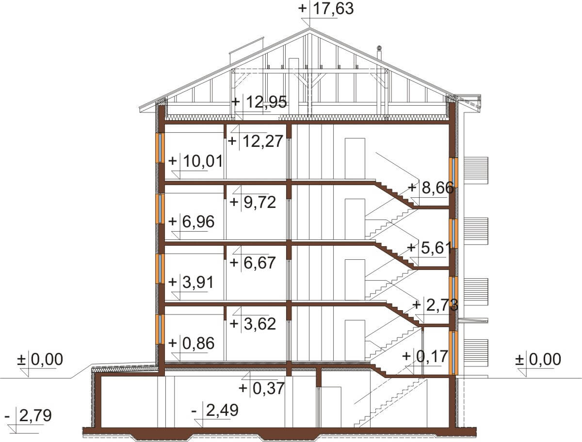 Projekt domu L-6496 B - przekrój