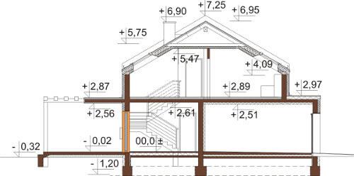 Projekt domu L-6557 - przekrój
