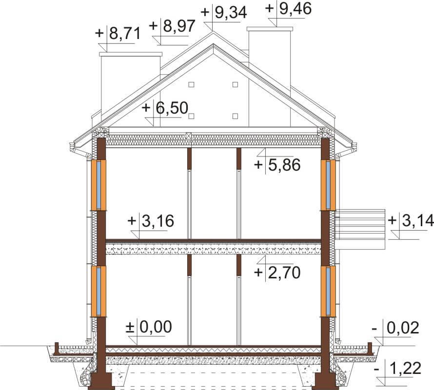 Projekt domu DM-6563 - przekrój