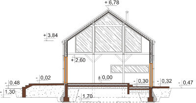 Projekt domu L-6562 - przekrój