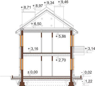 Projekt domu L-6563 - przekrój
