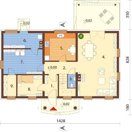 Projekt domu L-6582 - rzut