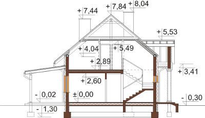 Projekt domu L-6582 - przekrój