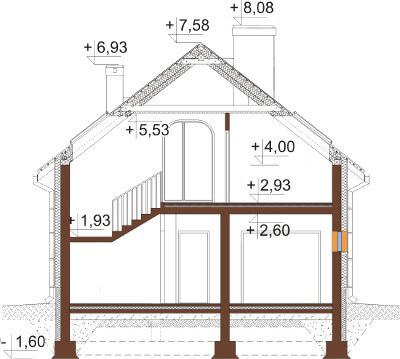 Projekt domu L-6568 - przekrój