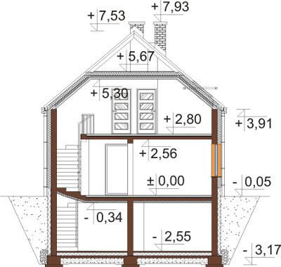 Projekt domu DM-6594 - przekrój