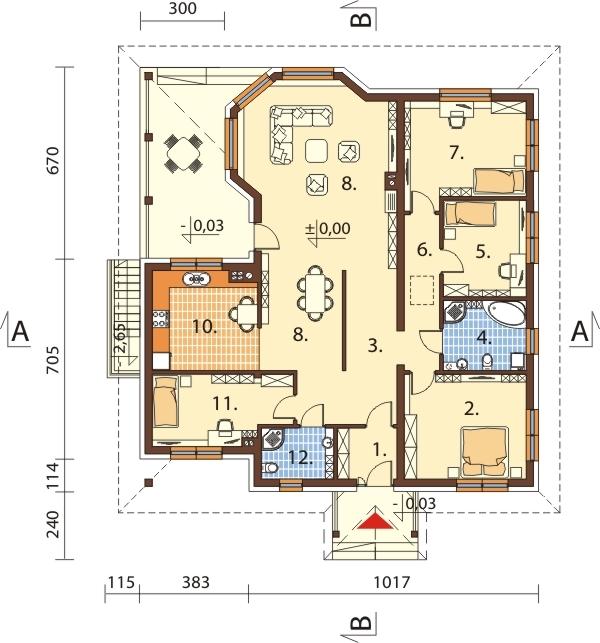 Projekt domu DM-6584 - rzut