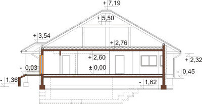Projekt domu L-6584 - przekrój