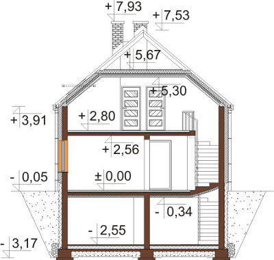 Projekt domu L-6594 - przekrój
