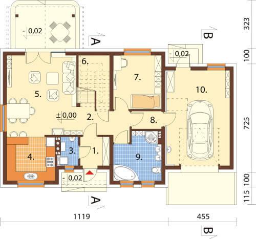 Projekt domu DM-6581 - rzut