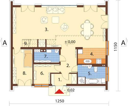 Projekt domu DM-6569 - rzut