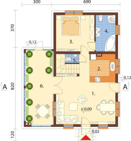 Projekt domu DM-6580 - rzut