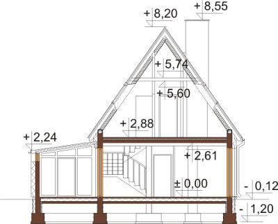 Projekt domu DM-6580 - przekrój