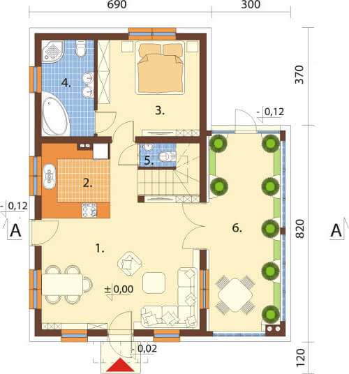 Projekt domu L-6580 - rzut