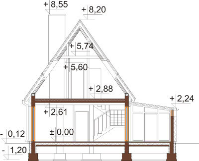 Projekt domu L-6580 - przekrój