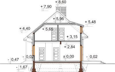Projekt domu L-6585 - przekrój