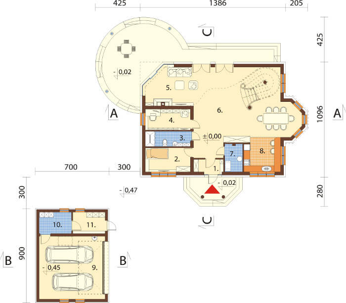 Projekt domu DM-6587 - rzut