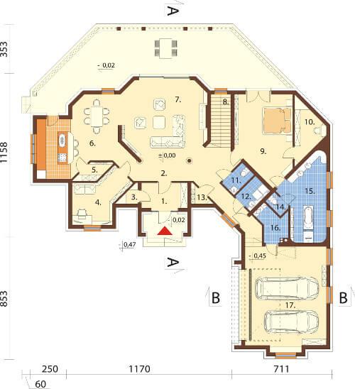 Projekt domu DM-6595 - rzut